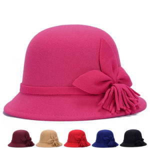 Lady Fashion Flower Cotton Knittted Winter Bucket Hats (YKY3245) pictures & photos