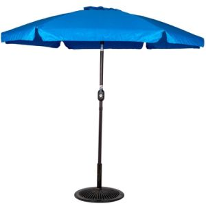 Outdoor 7.5 Feet Aluminum Beach Drape Umbrella with Crank and Push Button Tilt, 6 Fiberglass Ribs (Blue)