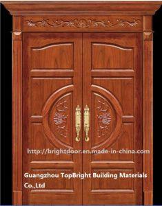 Luxury Teak Wood Double Door Design (CL-2047) pictures & photos