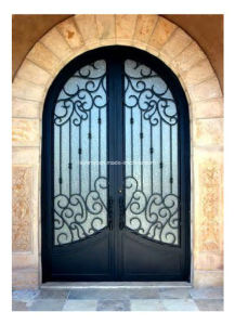 Exterior Security Door with Wrought Iron and Glass pictures & photos