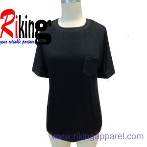Fashion Ladies Garment, PU Panel T Shirt (SS14RKT1311)