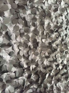 Hot Fashion New Design of Laser Satin 3D Flower Pieces Embroidery Fabric pictures & photos