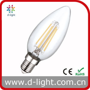 Without White Plastic C35 E14 ERP Candle 4W LED Bulb