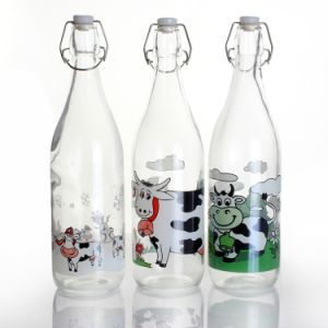 1000ml Round Glass Milk Bottle with Clip Top