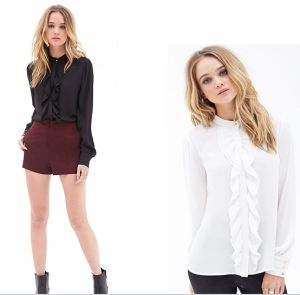 Fashion Shirt Design OEM Patch Work White Chiffon Ladies Blouse pictures & photos