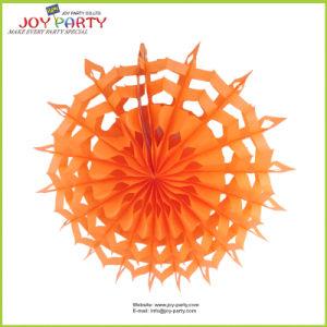 Orange Snowflake Paper Fan Halloween Decoration pictures & photos