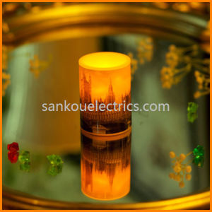 LED Wax Flameless Candle with Water Transfer Film Printing/Photo Prnting Wax Candle/Memorialize Gift