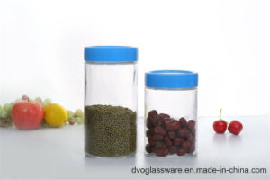Glass Cilinder Storage Jar with Plastic Lid