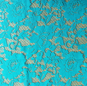 Lake Blue Flora Lace Fabric 100% Polyester pictures & photos