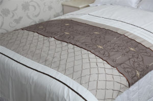 Embroidery and Pleat Panel Patchwork Bedding Set pictures & photos