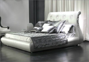 Italian Classic Furniture Wood Bed Leather Bed pictures & photos