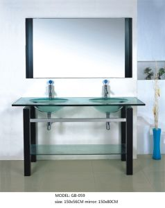 Double Glass Basin Furniture with Silver Mirror