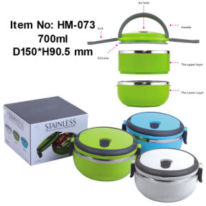 Stainless Steel Lunch Box with Two Layers, Box and Sealed Lunch Box and Vacuum Lunch Box (HM-073)