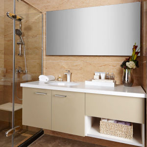 Oppein Olive Yellow Acrylic Semi-Open Bathroom Cabinets (OP14-031) pictures & photos