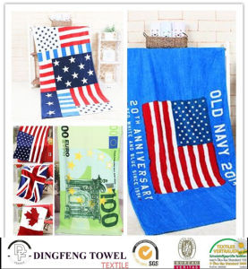 100% Cotton Velour Reactive Printed Beach Towel Df-2981 pictures & photos