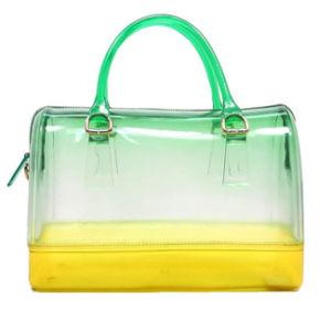 Mixed-Color Ladies Clear Handbags, Double Handle Jelly Handbags
