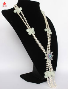 Fancy Real Pearl Beads Necklace with Crystal Flower pictures & photos