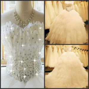 Feather Wedding Dress Tulle Rhinestones Bridal Ball Gown H131012 pictures & photos