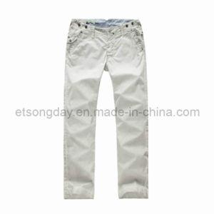 White 100% Cotton Men′s Casual Trousers (BTR12815) pictures & photos