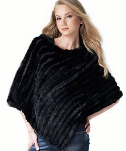 New Real Knit Rabbit Fur Shawl Fashio pictures & photos