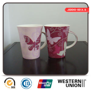 Butterfly Printing V-Shape New Bone Mug