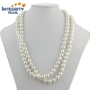 """36"""" Long Shell Pearl Necklace 10mm Perfect Round Sea Shell Pearl Necklace"""