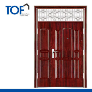 Decorated High Quality Steel Security Double Swing Door