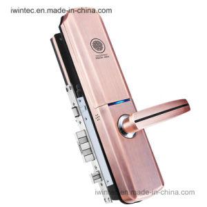 Slide Cover Fingerprint Door Lock with Key #V6160-Fp) pictures & photos