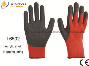 Acrylic Shell Napping Lining Latex Thumb Fully Coated Crinkle Finish Safety Work Glove (L6502) pictures & photos