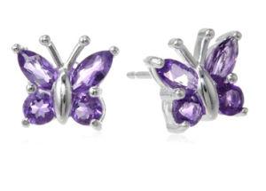 Sterling Silver Gemstone Butterfly Earrings Erc2014092