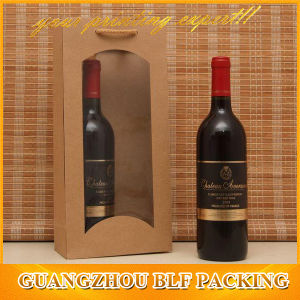 Brown Paper Bag with Window for Wine Bottle pictures & photos