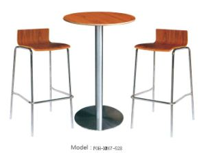Solid Heavy Duty Stainless Steel 4 Leg Bar Stool Wholesale Tall Bar Stool with Table Set pictures & photos