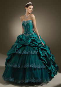 China Ball Gown Taffeta Peacock Full Length Prom Dresses (PD12007 ...