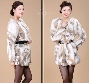 Free Shipping CD141 Genuine Rabbit Fur Coat for Women Wholesale Retail Winter Warm Long Rabbit Fur Jacket pictures & photos