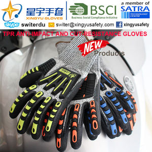 Cut-Resistance and Anti-Impact TPR Gloves, 18g Hppe Shell Cut-Level 3, Foam Nitrile Palm Coated, Anti-Impact TPR on Back Mechanic Gloves pictures & photos