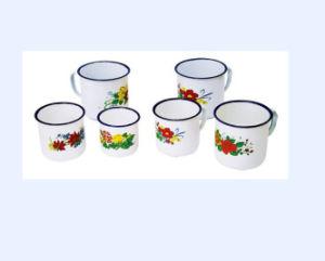 Flower Decorate Enamel Water Mug pictures & photos