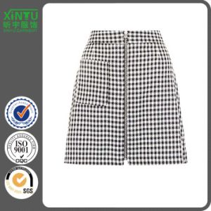 2016 Black Gingham Check Single Pocket Zip Front Mini Skirt pictures & photos