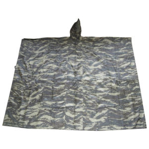 Polyester Outdoor Waterproof Camouflage Rain Poncho Rainwear (RWA09) pictures & photos