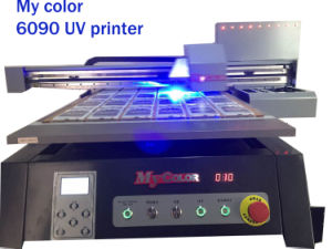 Cheap Small Format A1 Digital UV Flatbed Printer (12cm height adjustable, cmyk+w, 1440dpi, 60cmx90cm) pictures & photos