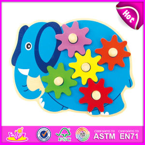 2014 New Kids Wooden Toy Gear, Popualr Cute Children Toy Gear, Hot Sale Lovely Baby Elephant Style Wooden Toy Gear W13e038 pictures & photos