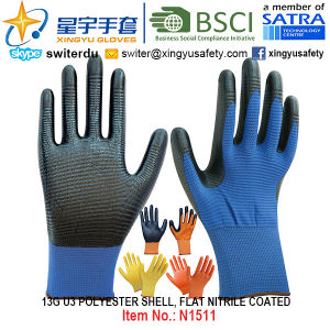 13G U3 Polyester Shell Nitrile Palm Coated Gloves (N1511) Smooth Finish with CE, En388, En420, Work Gloves pictures & photos