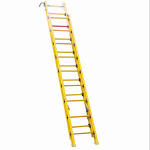 (375LBS) 220kv 6m Yellow Fiberglass Single Side Grooved Rail Extension Ladder pictures & photos