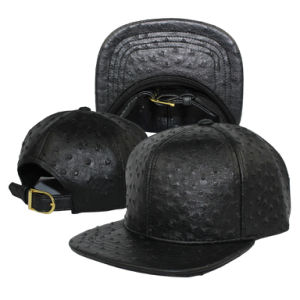 Ostrich Faux Leather Strapback Baseball Cap pictures & photos