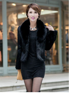 2015 New Fashion Faux Fox Collar with Mink Fur Coat pictures & photos