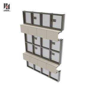 Shopping Mall Visible Frame Hollow Extrusion Tempered Glass Aluminum Curtain Wall System pictures & photos