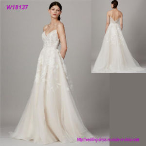 New Arrival Summer Strapless Lace up Shining Bridal Gown pictures & photos