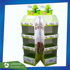 Corrugated Cardboard Floor Display with Shelves for Foods, Food Cardboard Floor Display Stand Manufacturer China pictures & photos