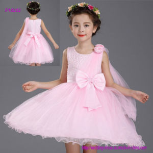 New Arrival Flower Girls Dress with 3D Flowers Modern Style Party Dress pictures & photos
