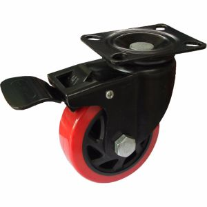 4/5 Inch Medium Heavy Red PU Swivel Castor Wheel with E-Coating Bracket pictures & photos
