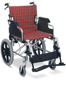 Aluminum Manual Folding Transfer Wheelchair with Drop Back Handle pictures & photos
